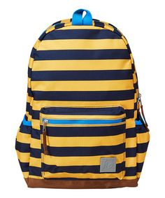 Look at this #zulilyfind! Navy & Yellow Stripe There & Backpack by Hanna Andersson #zulilyfinds