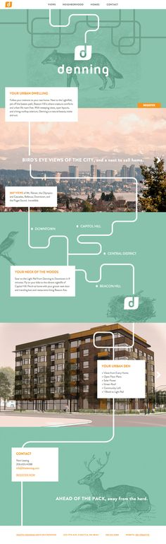 What a lovely way to present an upcoming apartment block. The One Pager features beautiful animal illustrations with a subtle parallax effect as your scroll down. 'Denning' is a future green apartment dwelling in Seattle's Beacon Hill neighborhood. Layout Design, Web Layout, Gui Interface, User Interface Design, Wireframe, Ecommerce, Presentation Layout, Ui Web, Das Hotel