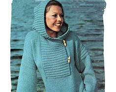 "Instant Download PDF Vintage Seventies KNITTING PATTERN to make a Cowl Hood Anorak Jacket  Over Sweater Toggle Fastening 34"" to 38"" Bust"