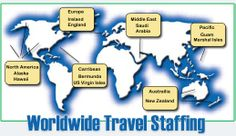 Worldwide Travel Staffing is truly WORLDWIDE!  With several facilities overseas in Ireland, Saudi Arabia, Guam, the Marshal Islands, Bermuda, the US Virgin Islands and more! Travel nursing