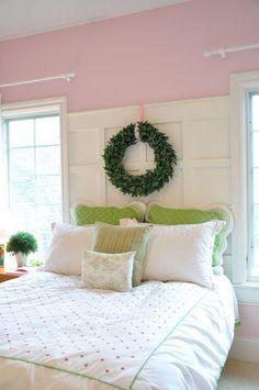 Paneled Headboard in a fresh pink bedroom