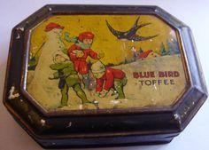 Vintage Snowman Snowballs Children Blue Bird Toffee Tin Colourful Octagonal ebay