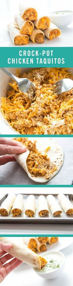Kid-friendly meets parental appetites with this tasty and simple recipe. These Crock-Pot Chicken Taquitos couldn't be more easy to make. You just need a slow-cooker and five ingredients: cream cheese, taco seasoning, chicken, cheese, and tortillas. Crock Pot Recipes, Crock Pot Food, Slow Cooker Recipes, Cooking Recipes, Pasta Recipes, Crock Pots, Potato Recipes, Casserole Recipes, Soup Recipes