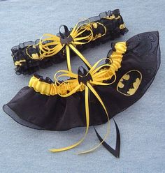 Batman Wedding Garter Set Black Bat with Gift Box...suuper cute for me to have since the guys will have comic book hero shirts on under