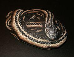 Tan and Black Garter Snake painted rock