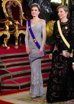 Queen Letizia of Spain (L) and Maria Clemencia Rodriguez de Santos (R) attend a Gala dinner at the Royal Palace on 02.03.2015 in Madrid, Spain.