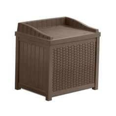 Suncast 22 Gallon Resin Wicker Indoor/Outdoor Storage Deck Box with Seat, Java, Brown