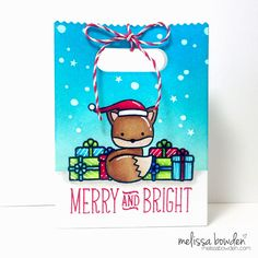 Into The Woods stamp set from Lawn Fawn. I think this little fox is soooo cute! This goodie bag die is also from Lawn Fawn. I paired the little fox with some presents and the santa hat from Taboggan Together to create a cute little wintery scene. Stamped Christmas Cards, Xmas Cards, Gift Card Boxes, Favor Boxes, Gift Cards, Winter Karten, Goodie Bags, Treat Bags, Lawn Fawn Stamps