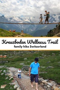 Kreuzboden is a great destination for families in the Saastal region Switzerland with a big alpine playground, sensory theme trail, mountain scooters and beautiful panorama views. Directions and tips for your visit in our blog post. Best Of Switzerland, Hiking Europe, Hiking Trails, Scooters, Fun Activities, Playground, Families, Mountain, Wellness