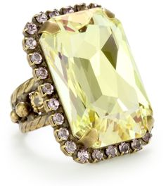 "Sorrelli ""Mirage"" Octagonal Crystal Cocktail Gold-Tone Adjustable Ring: Jewelry: Amazon.com"