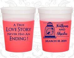 A True Love Story Never has an Ending, Imprinted Party Mood Cups, A True Love Story Never Ends, Bird Cage, Red Mood Cups (244)