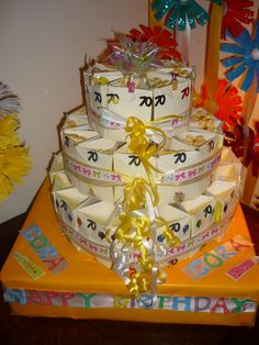 party favor gift bags made into a 3 tier cake 3 Tier Cake, Tiered Cakes, Gift Bags, Bag Making, Party Favors, Desserts, Gifts, Food, Design
