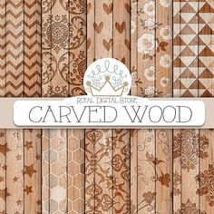 """Wood digital paper: """"CARVED WOOD"""" with wood background, wood scrapbook paper, wood textures. wood patterns for scrapbooking, cards"""