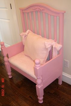 DIY baby cot converted into into a bench seat.