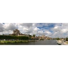 Cathedral at the waterfront Cathedrale Saint-Etienne DAuxerre Auxerre Burgundy France Canvas Art - Panoramic Images (36 x 12)