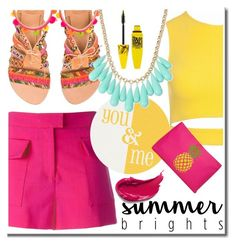 """""""Summer Brights"""" by daizydarling ❤ liked on Polyvore featuring MSGM, Elina Linardaki, Sans Souci, INC International Concepts, Maybelline and T-shirt & Jeans"""