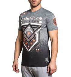 - Style - Men's Short Sleeve Tee - Neo Tetris Tee - Sublimated Pattern - Charcoal Coverstitch Up Side Seam - HD Heat Transfer Label American Fighter, Heat Transfer, Short Sleeve Tee, Charcoal, Label, My Style, Pattern, Mens Tops, Clothes