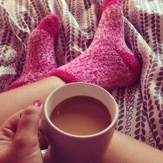 pink fuzzy socks.