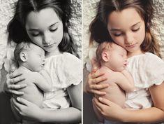 big sister holding newborn baby  sibling photo