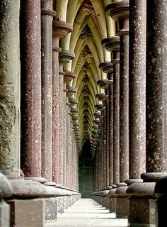 This is in the upper cloister at Mont St. Michel in France. Definately worth a visit. The Cloisters, Vanishing Point, Mont Saint Michel, St Michael, Ancient Romans, Architecture Details, Places Ive Been, Travel Photography, Saints