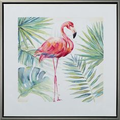 Gerahmtes Leinwandbild Flamingo East Urban Home Small Canvas Paintings, Canvas Artwork, Painting Frames, Painting Prints, Painting & Drawing, Flamingo Painting, Flamingo Art, Art And Illustration, Acrilic Paintings