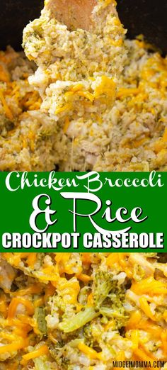 If you are looking for a simple crockpot casserole that combines old school flavors then you are going to love this crockpot chicken and rice casserole. This is the crockpot version of my husbands fav Crockpot Chicken Casserole, Crockpot Rice Recipes, Chicken Broccoli Crockpot, Crockpot Dishes, Broccoli Recipes, Crock Pot Cooking, Cooking Recipes, Crockpot Chicken And Stuffing, Chicken Broccoli Rice Casserole