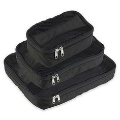 Latitude 40 ° N® Packing Cubes 3-Pack in Black | Bed Bath & Beyond Travel Luggage, Travel Bags, Packing Cubes, Black Bedding, Tech Support, Travel Accessories, Cleaning Wipes, Bath, Travel Handbags