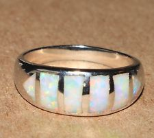 white fire opal ring Gemstone silver jewelry Sz 8 modern elegant band HH4