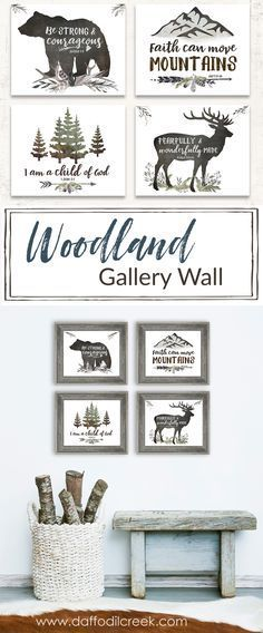 Love this Woodland Nursery Gallery Wall!! Perfect for my baby boy's nursery! These bible verses are some of my favorite inspirational quotes for a boy.