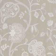 Anopura Fabric An embroidered curtain fabric featuring a stylised tree of life design in ivory on linen.