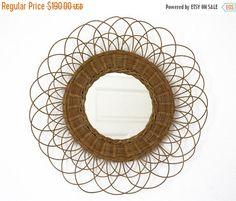 20 % off Vintage very large french rattan mirror por RueDesLouves