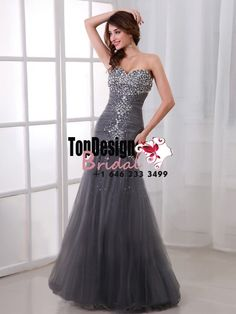 Wholesale Vestidos De Fiesta 2017 Brand New Evening Party Gown Mermaid Grey Beading Tulle Prom Dresses