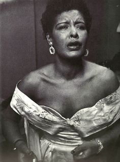 Billie Holiday backstage at Carnegie Hall.