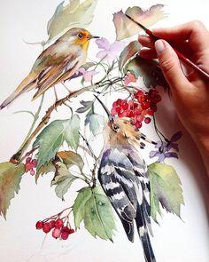 More ar Pastel Watercolor, Watercolor Bird, Watercolor Animals, Watercolour Painting, Watercolors, Watercolour Tutorials, Watercolor Techniques, Watercolor Christmas Cards, Watercolor Journal