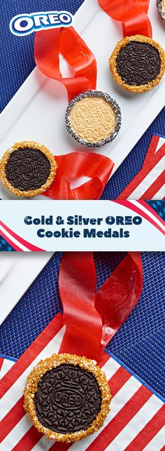 Make your guests feel like Team USA champions with these charming Gold & Silver OREO Cookie Medals. Quick and easy to make, this treat is as tasty to the tastebuds as it is stunning to the eye. Such a fun recipe to create with friends and families. Makes 12 servings in just 15 mins!