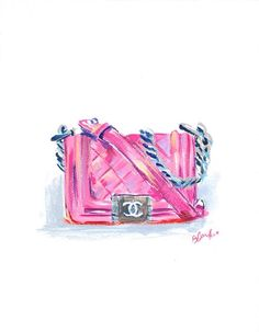 ༻✿༺ ❤️ ༻✿༺ Pink Boy Chanel Purse Fashion Painting Print Dior // by LimbTrim ༻✿༺ ❤️ ༻✿༺