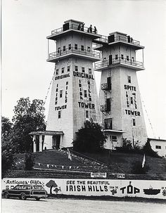 Irish Hills Towers in the 1970's. The first of these observation towers was built in 1924, with the second tower being added later. Located in the Irish Hills near Onsted and Brooklyn, MI. The towers are now abandoned and may be torn down.