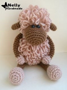 "Nelly Handmade: Lamb Sheldon and ""stretched"" loop hook Elongated loop video on… Crochet Sheep, Crochet Chart, Crochet Animals, Crochet Dolls, Crochet Baby, Crochet Toys Patterns, Amigurumi Patterns, Crochet Decoration, Crochet Gifts"