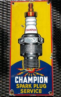 """Champion Spark Plugs Vintage Porcelain Sign (Old Antique Automobile Service Station Garage Enamel Advertising Sign, """"Spark Plug Service"""")"""