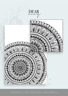 Mandala Wall Art No. 4 ⋆ Mandala Print ⋆ Black and White Print ⋆ Wall Decor ⋆ Boho Chic ⋆ Minimalist Design ⋆ Digital Download ⋆ Printable ⋆ Dear May Printables Mandala Printable, Wall Decor, Wall Art, As You Like, Minimalist Design, Wall Prints, Boho Decor, Decorating Your Home, Boho Chic