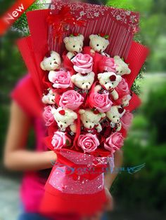11 Teddy Bear Bouquet for Wedding gift,Christmas g (end 9/16/2015 ...