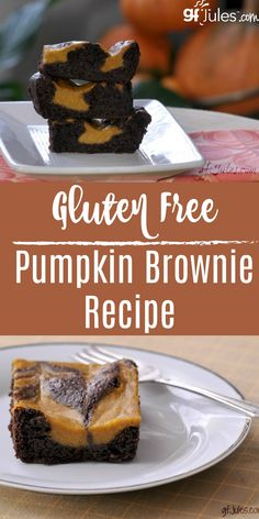 Gluten Free Pumpkin Brownie Pumpkin and chocolate go together so well. This gluten free pumpkin brownie recipe proves it: the perfect marriage of mellow chocolate and creamy pumpkin! Dairy Free Brownies, Gluten Free Cookies, Gluten Free Baking, Gluten Free Desserts, Gluten Free Recipes, Dessert Recipes, Gf Recipes, Fall Desserts, Dessert Bars