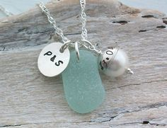 Personalised Scottish Sea Glass and Sterling Silver Date and Initial Necklace £32.00