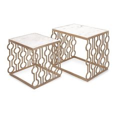 Marysia Gold Nesting Tables with Marble Top - Set of 2 - ModLivingDecor.Com