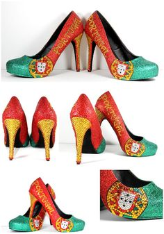 Portugal Flag Heels Glitter Heels with by WickedAddiction on Etsy Portugal Flag, Special Occasion Shoes, Glitter Heels, Custom Shoes, Sports Shoes, Wedge Heels, Wedding Shoes, Swarovski Crystals, Girly