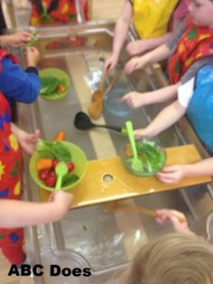 pixels Love this idea, vegetables in the water tray for soup making. Eyfs Activities, Nursery Activities, Sensory Activities, Sensory Play, Summer Activities, Indoor Activities, Family Activities, Harvest Eyfs, Olivers Vegetables