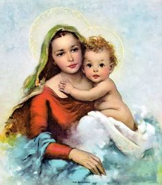 Florence Kroger Mary and Jesus Divine Mother, Blessed Mother Mary, Blessed Virgin Mary, Catholic Art, Catholic Saints, Religious Art, Madonna Images, Madona, Catholic Pictures