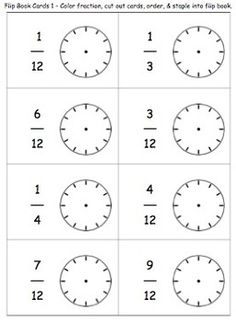 FREEBIE!! CLOCK FRACTION FLIP BOOK - TeachersPayTeachers.com