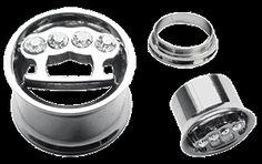 Piercing Schmuck - Ohr Piercing Schmuck Stahl Flesh Tunnel in 8-14 mm mit Schlagring