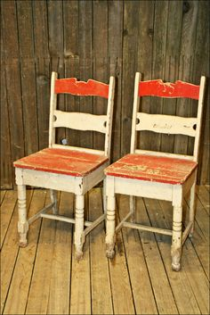 2 Vtg CHAIR PAIR chippy paint wood mid century shabby French Country plank chic cottage primitive rustic farm red/white plant stand garden by SaveAmericanHistory on Etsy